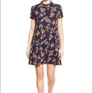 Navy mock neck floral dress